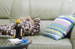 Medicine and the couch Stock Photo
