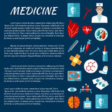 Medicine design template with first aid symbols Stock Image