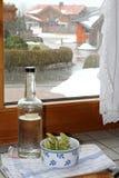 Medicine di erbe europee secche con l'acquavite Fotografia Stock Libera da Diritti