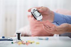 Medicine, diabetes, glycemia, health care and people concept stock image