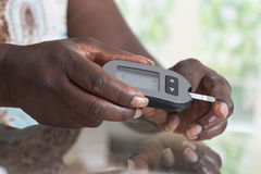 Medicine, diabetes, glycemia, health care and people concept Stock Photos