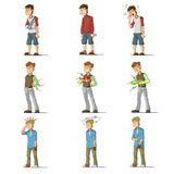 Medicine disease man flat characters set vector illustration