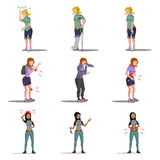 Medicine disease woman flat characters set Stock Photography
