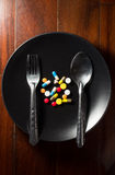 Medicine on dish for eat Royalty Free Stock Photos