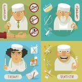 Medicine doctor flat icons vector illustration