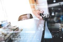 Medicine doctor hand holding modern digital tablet computer and Stock Image