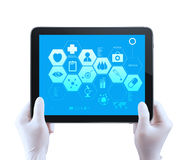 Medicine doctor hand shows tablet compuer with me. Dical computer interface as concept royalty free stock images