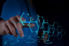 Medicine doctor hand working with modern computer interface. As medical concept royalty free stock photo