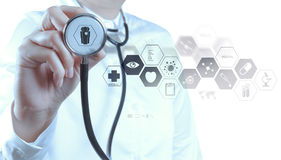 Medicine doctor hand working with modern computer interface. As medical concept royalty free stock photography