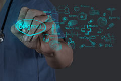 Medicine doctor hand working with modern computer interface Stock Photos