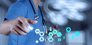 Medicine doctor hand working with modern computer interface Stock Image