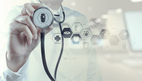 Medicine doctor hand working with modern computer interface Royalty Free Stock Photo