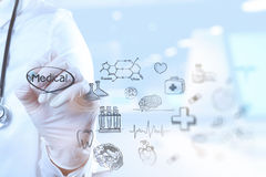 Medicine doctor hand working with modern computer interface Royalty Free Stock Images