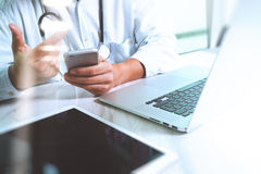 Medicine doctor hand working with modern digital tablet and lapt Royalty Free Stock Photography