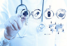 Free Medicine Doctor Hand Working With Modern Computer Interface Stock Images - 30562684