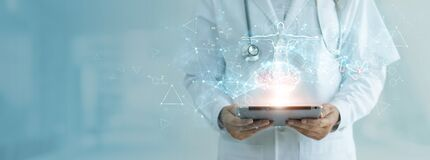 Medicine doctor holding electronic medical record on tablet, Brain testing result, DNA, Digital healthcare and network connection
