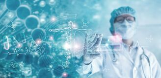 Medicine doctor holding hologram virtual interface electronic medical record. DNA. Analysis digital healthcare on network