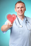 Medicine doctor with holographic heart Royalty Free Stock Images