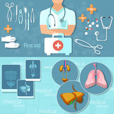 Medicine doctor man medical hospital instruments first aid kit. Surgery x-rays vector banners Stock Photography