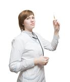 Medicine doctor with medical syringe in hands Stock Photos