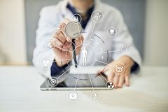 Medicine doctor with modern computer, medical network connection. Medical technology network and health care concept. Medicine doctor with modern computer Royalty Free Stock Image