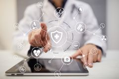 Medicine doctor with modern computer. medical technology network and health care concept. Medicine doctor with modern computer, virtual screen interface and Royalty Free Stock Image