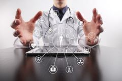 Medicine doctor with modern computer. Medical technology network and health care concept. Stock Photography