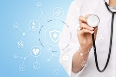 Medicine doctor with modern computer, virtual screen interface. medical technology network and health care concept. Medicine doctor with modern computer Royalty Free Stock Photos