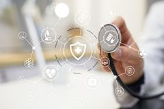 Medicine doctor with modern computer, virtual screen interface. medical technology network and health care concept. Medicine doctor with modern computer Stock Image