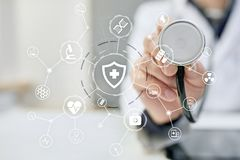 Virtual screen interface and icon medical network connection. medical technology network and health care concept.