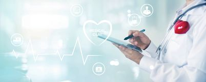 Medicine doctor with stethoscope touching information network con. Medicine doctor with stethoscope and red heart shape touching information network connection stock image