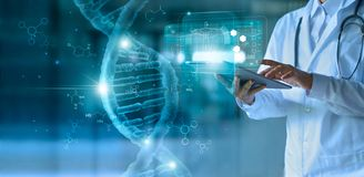 Medicine doctor touching electronic medical record on tablet. DNA. Digital healthcare and network connection on hologram