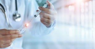 Medicine doctor and vaccine dose flu shot drug syringe in lab stock photography