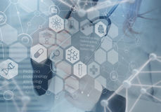 Medicine doctor and virtual computer interface Stock Image