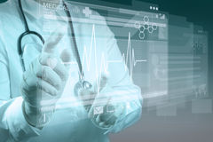 Medicine doctor working with modern computer Stock Image