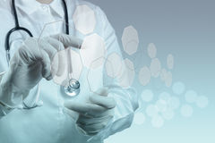 Medicine doctor working with modern computer Stock Photography