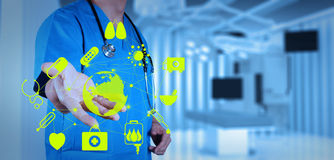 Medicine doctor working with modern computer interface. As medical concept royalty free stock photography
