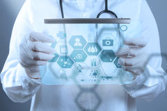 Medicine doctor working with modern computer interface. As medical concept stock photos