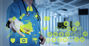 Medicine doctor working with modern computer interface. As medical concept Stock Image