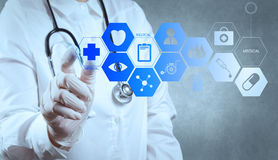 Medicine doctor working with modern computer interface Royalty Free Stock Photo