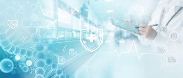 Free Medicine Doctor Write Electronic Medical Record On Tablet. DNA. Digital Healthcare And Network Connection On Hologram. Royalty Free Stock Image - 154742446