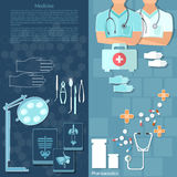 Medicine doctors in a hospital intern medical care. Surgery x-ray medical instruments vector banners Stock Photo