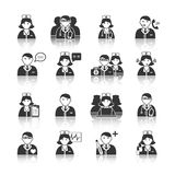 Medicine Doctors and Nurses Icons Set Royalty Free Stock Images