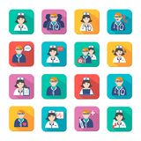 Medicine Doctors and Nurses Icons Set Stock Images