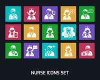 Medicine Doctors and Nurses Icons Set Royalty Free Stock Photo