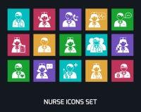 Medicine Doctors and Nurses Icons Set Royalty Free Stock Photo