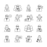 Medicine Doctors and Nurses Icons Set Stock Photography