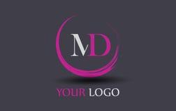 medicine doktor M D Letter Logo Design Royaltyfri Fotografi