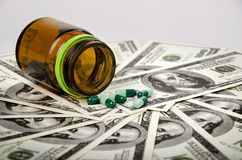 Medicine on dollars Royalty Free Stock Image