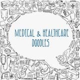 Medicine doodle background. Health care and medicine doodle background. Vector illustration Stock Photography